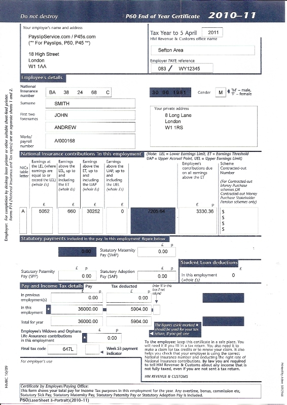 London S No 1 Order Lost Replacement Genuine Payslips