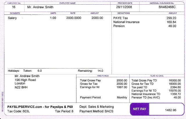 Sage Payslip Plus Purple  Monthly Pay Slip